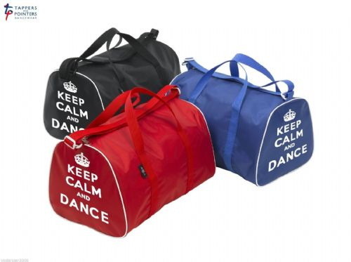 KEEP CALM AND DANCE Barrel Shaped Holdall Bag for dancer in Red, Black or Blue